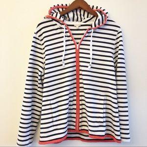 TALBOTS Nautical Striped Hooded Sweatshirt SZ XL